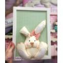 Quadretto coniglietto cionfoso verde pois 20x30cm da personalizzare con il nome