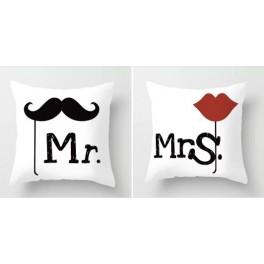 Coppia cuscini Mr & Mrs  45x45cm sfoderabili