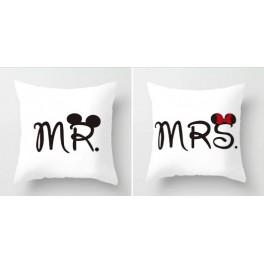 Coppia cuscini Mr & Mrs  topolini 45x45cm sfoderabili